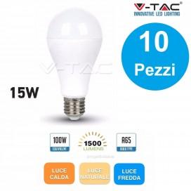 10 LAMPADINE LED E27 15W V-TAC VT-2015
