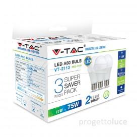 V-TAC VT-2113 CONFEZIONE 3 LAMPADINE LED E27 11W