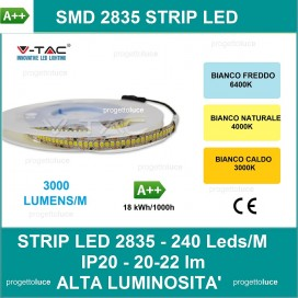 STRISCIA LED V-Tac SMD 5mt 2835 ALTA LUMINOSITA' IP20