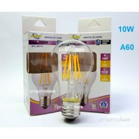 LAMPADA LED FILAMENTO 10W E27 A60 LUCE CALDA